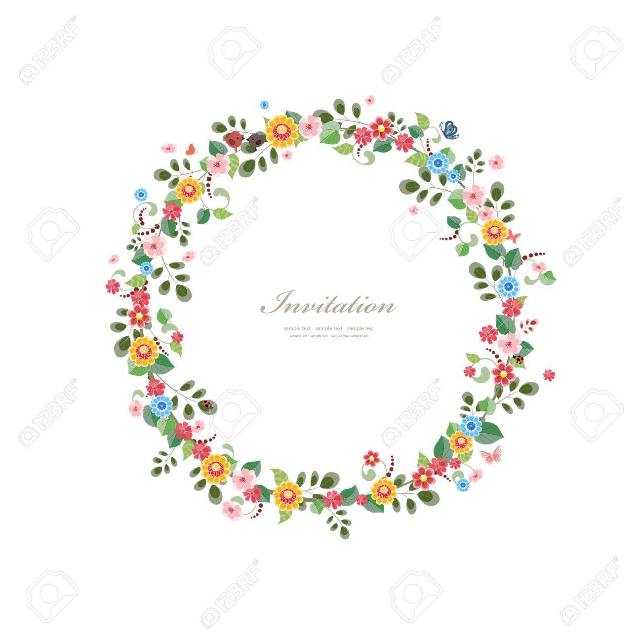 couronne de fleur carton dinvitation avec couronne de fleurs pour votre conception