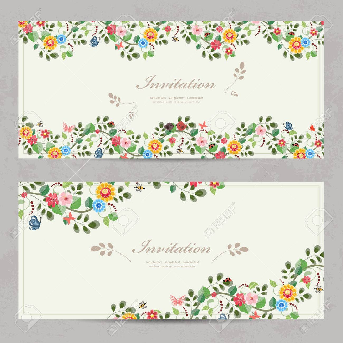 Cute Floral Invitation Cards For Your Design Royalty Free Cliparts ...