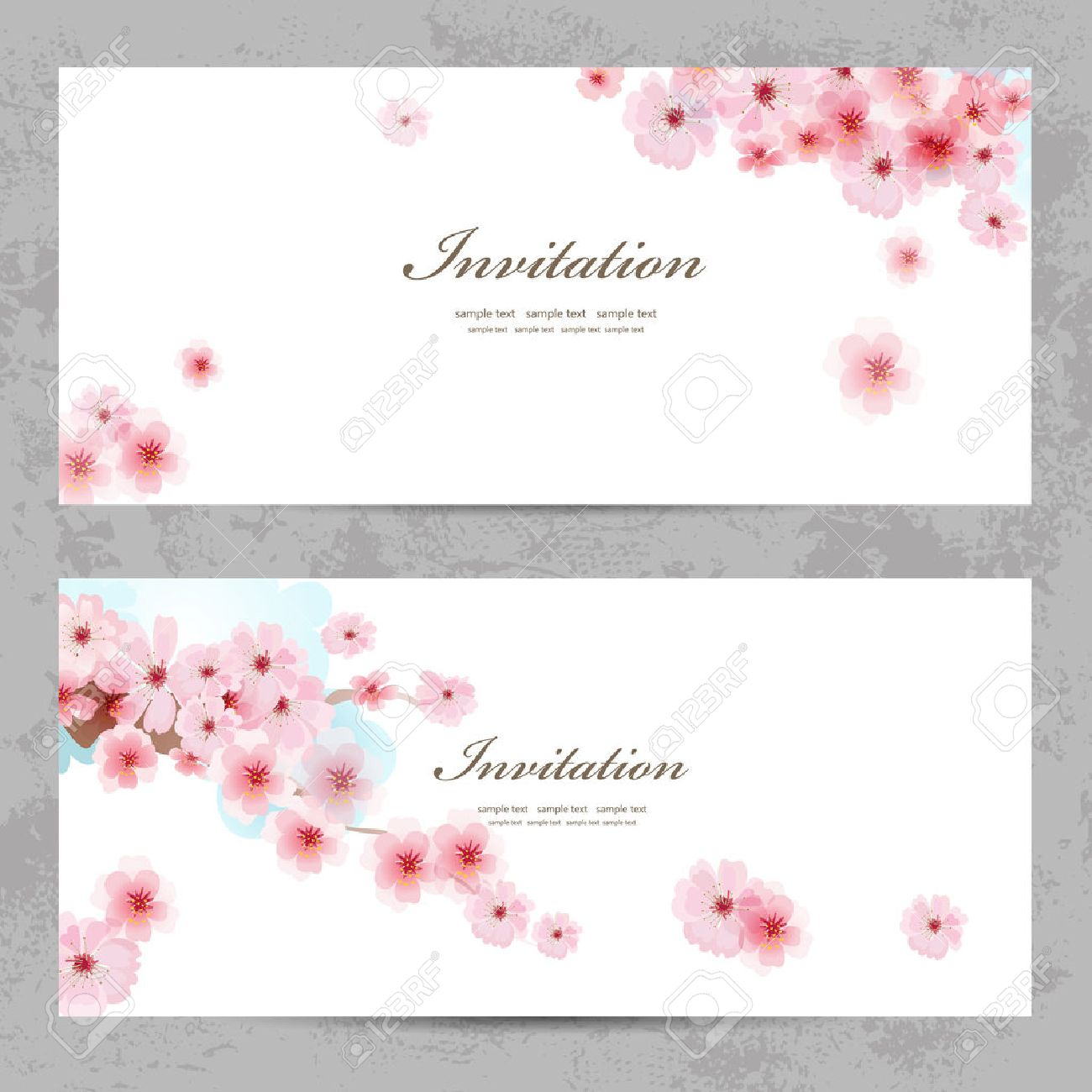Invitation cards with a blossom sakura for your design royalty free imagens invitation cards with a blossom sakura for your design stopboris Gallery