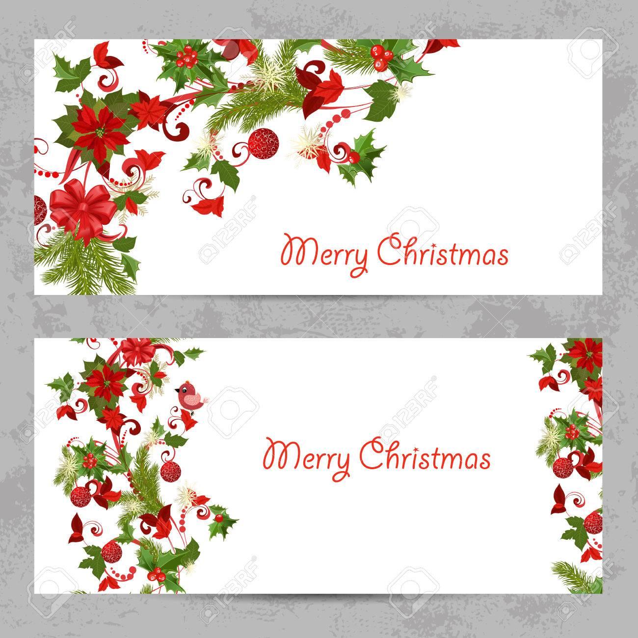 Tarjetas De Invitación Con Un Patrón De Navidad Para Su Diseño