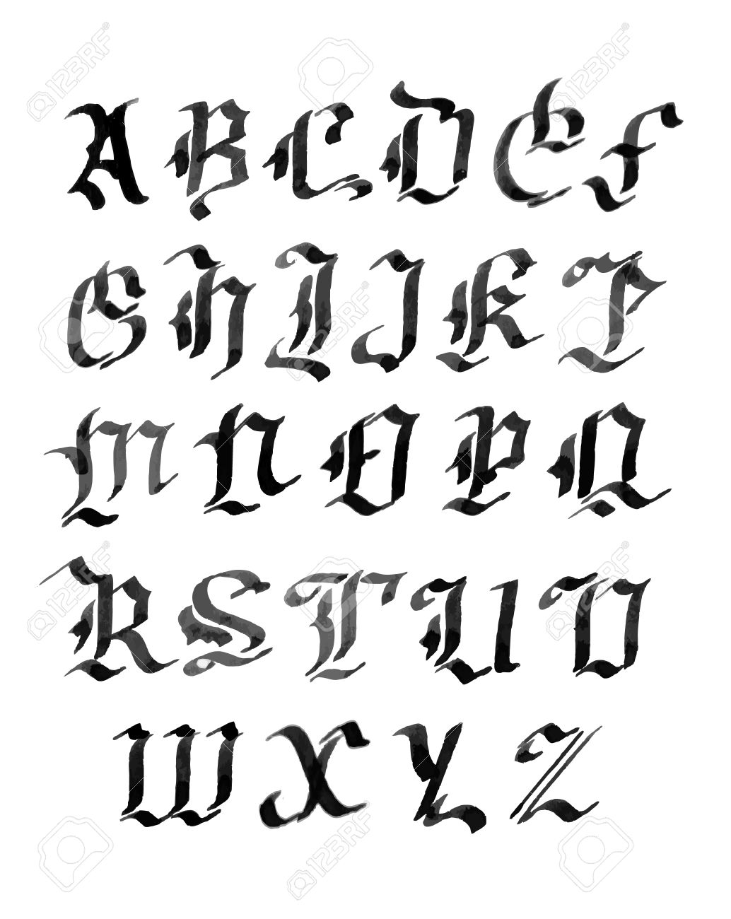 Alphabet Style hand drawn letters. gothic style alphabet. ink royalty free cliparts