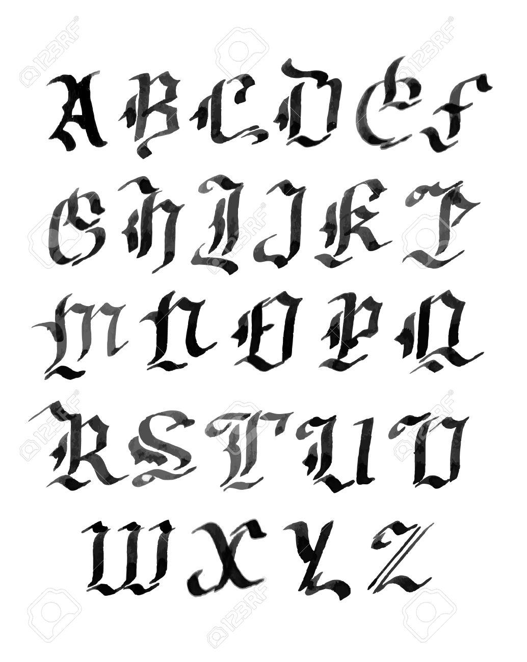 Main lettres tabli alphabet de style gothique encre clip art main lettres tabli alphabet de style gothique encre banque dimages 37863312 thecheapjerseys Choice Image