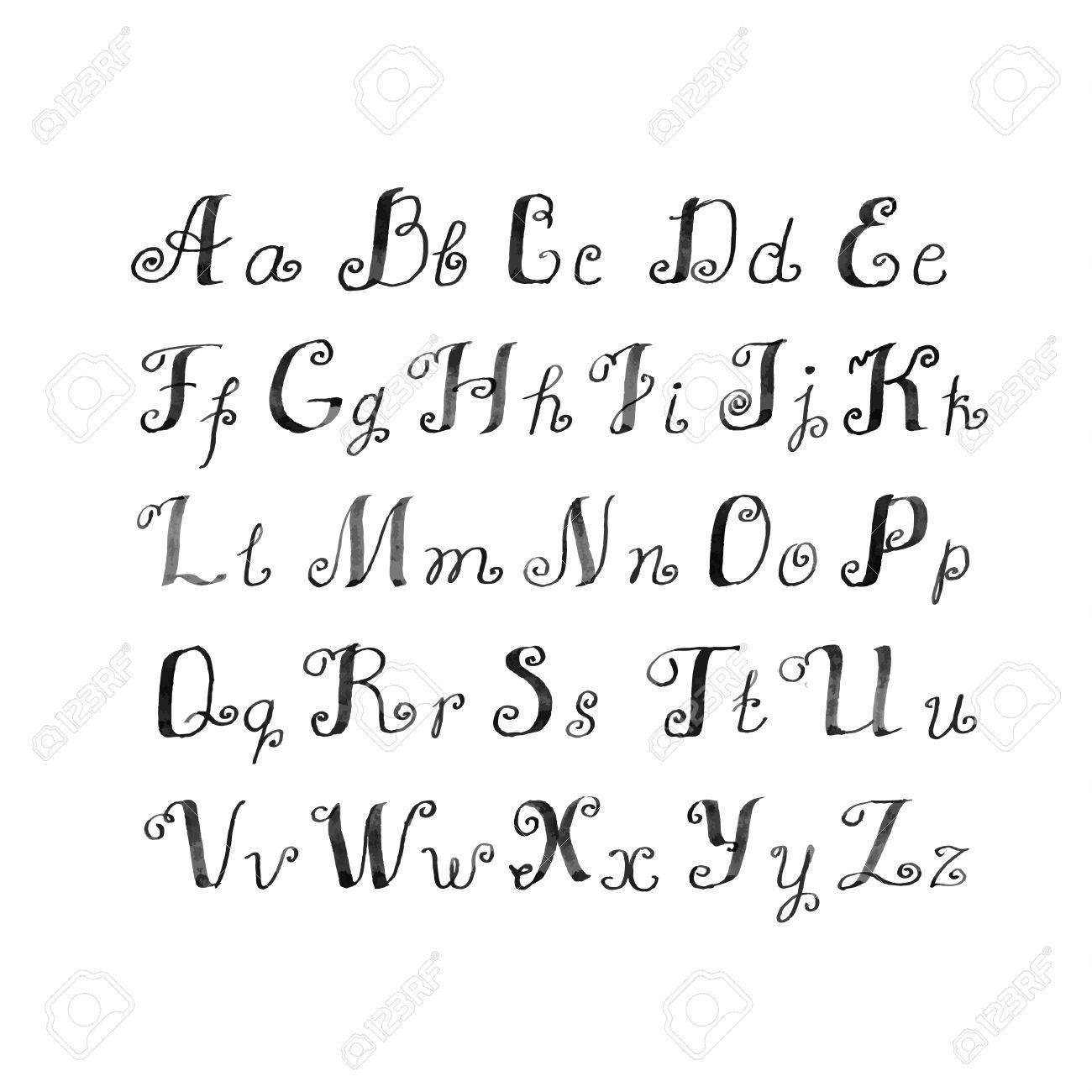 かわいい手書きのインク アルファベット ロイヤリティフリークリップ