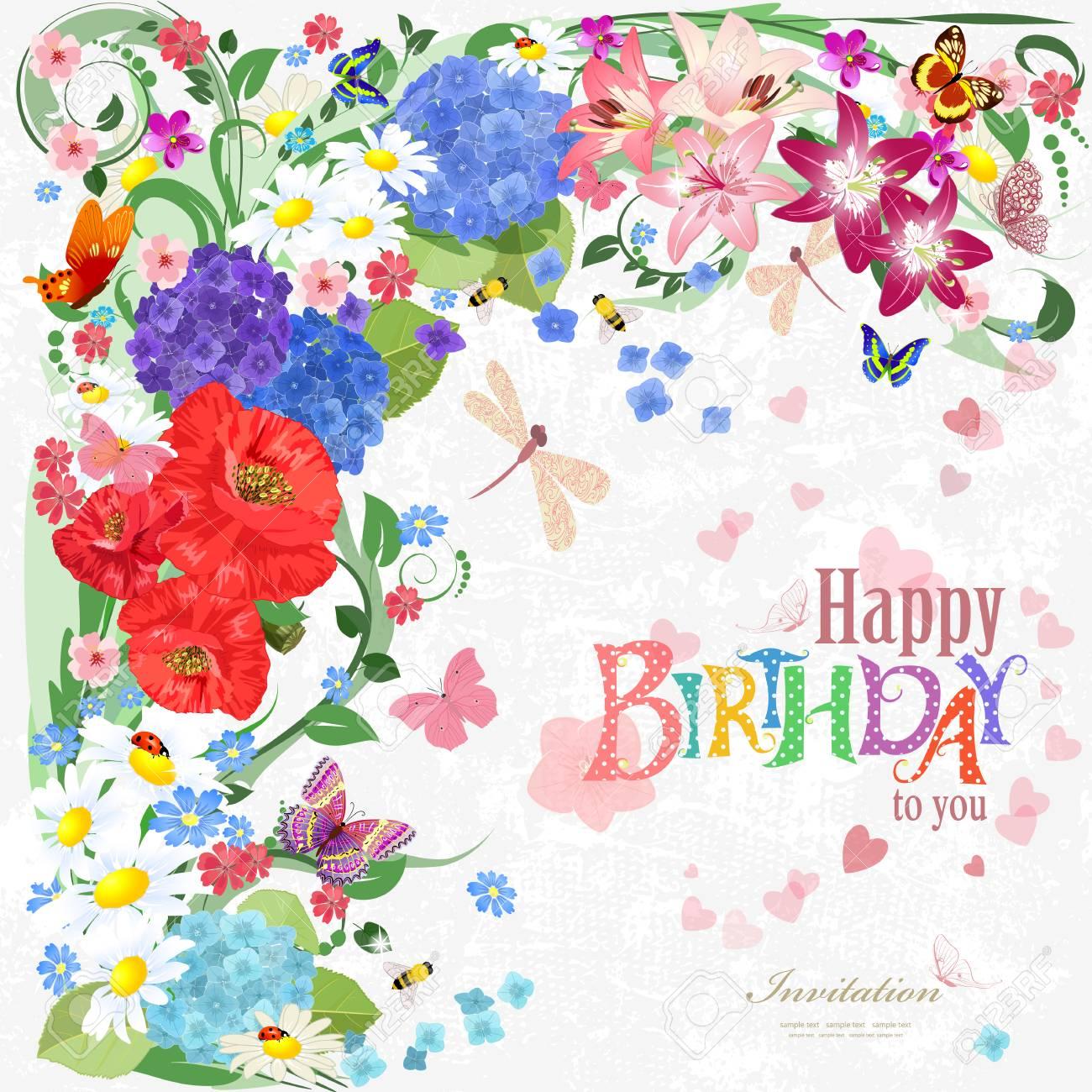 Tarjeta De Invitación Colorida Con Elementos Florales Para El Diseño Feliz Cumpleaños