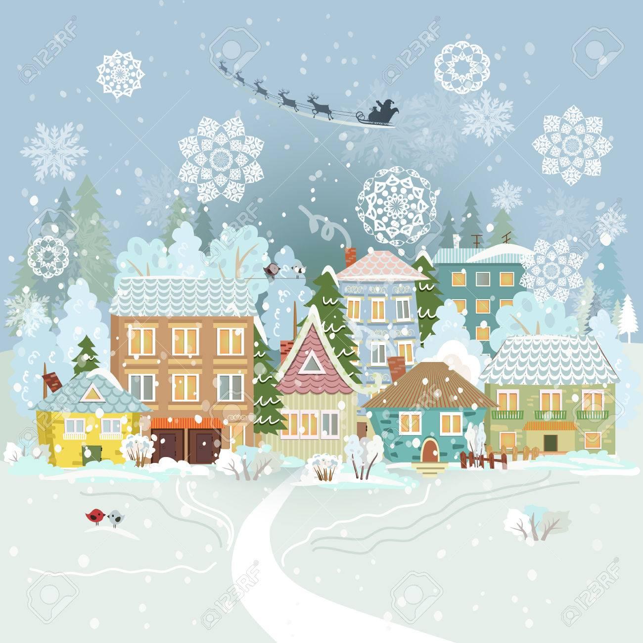 かわいい冬の街並みメリークリスマスのイラスト素材ベクタ Image