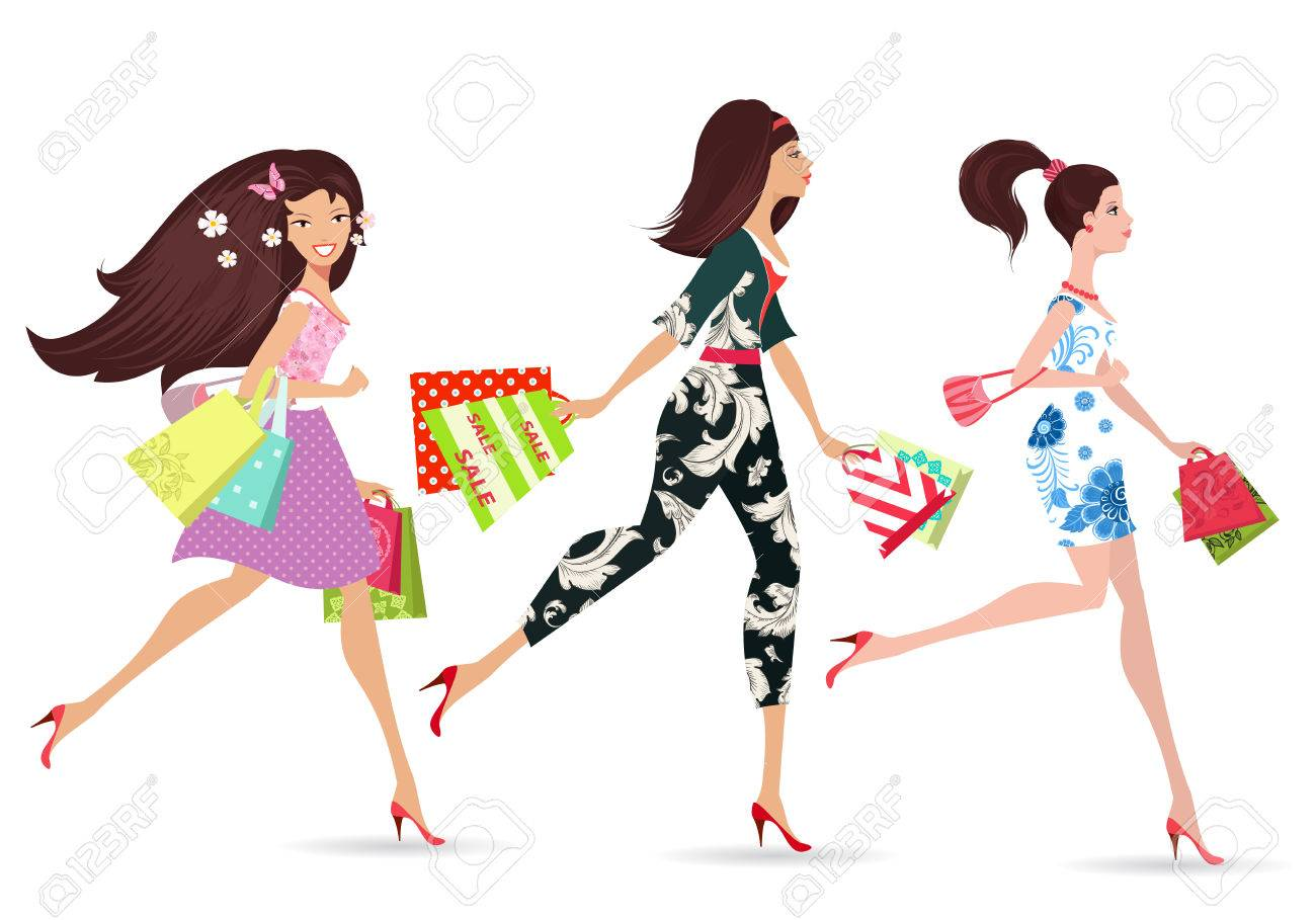 Fashion Ladies Walking With Shopping