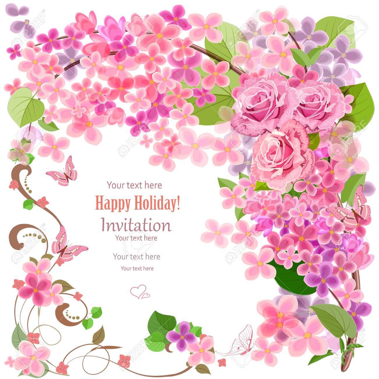 Tarjeta De Invitación Preciosa Con Flores Y Mariposas Para Su Diseño