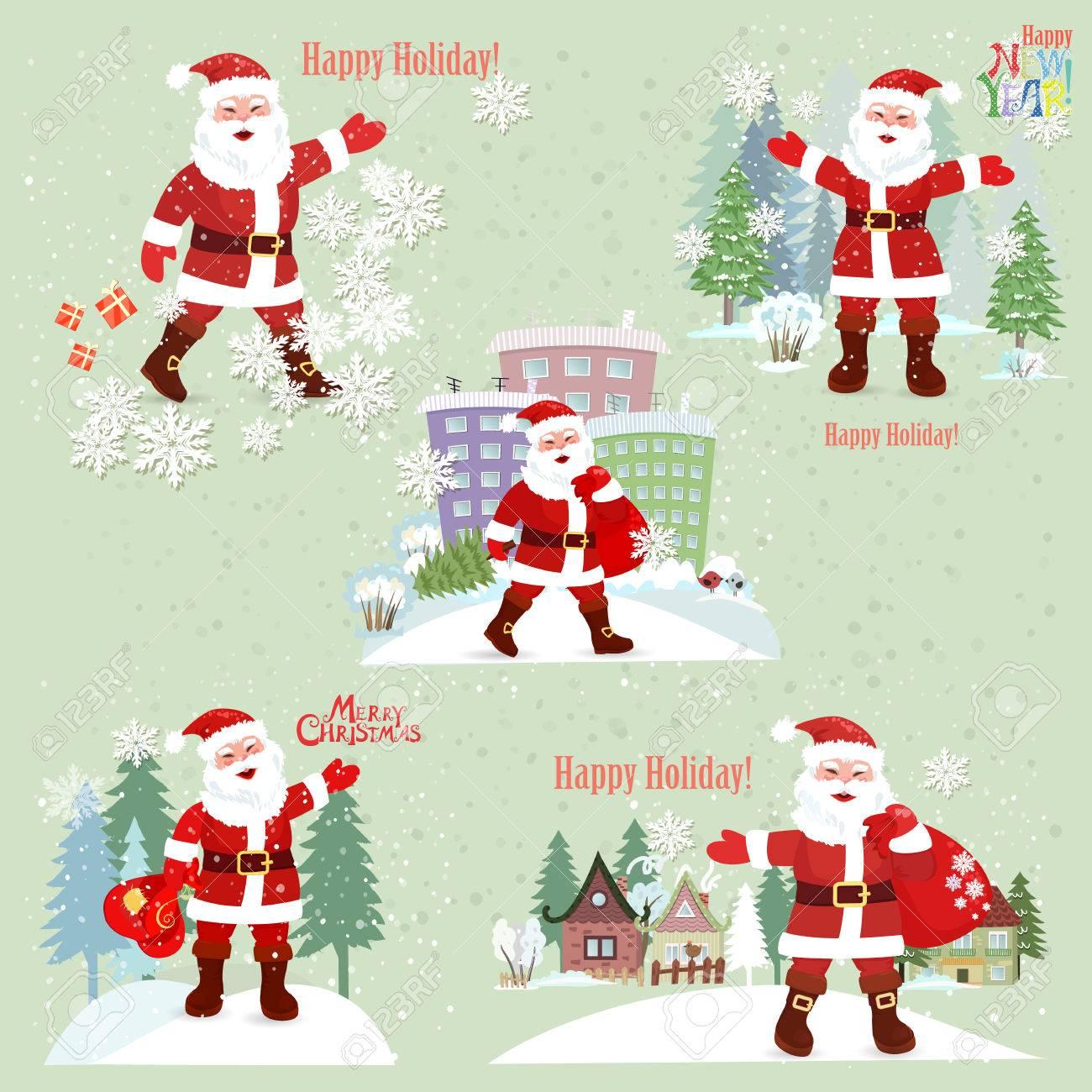 Sammlung Von Santa Claus. Weihnachtsmann In Der Stadt. Fröhliche ...