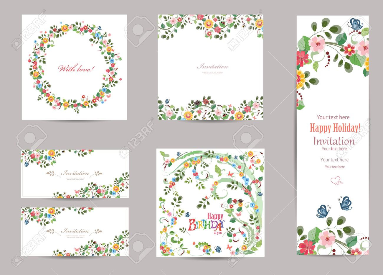 collection of greeting cards with cute flora for your design - 50254985