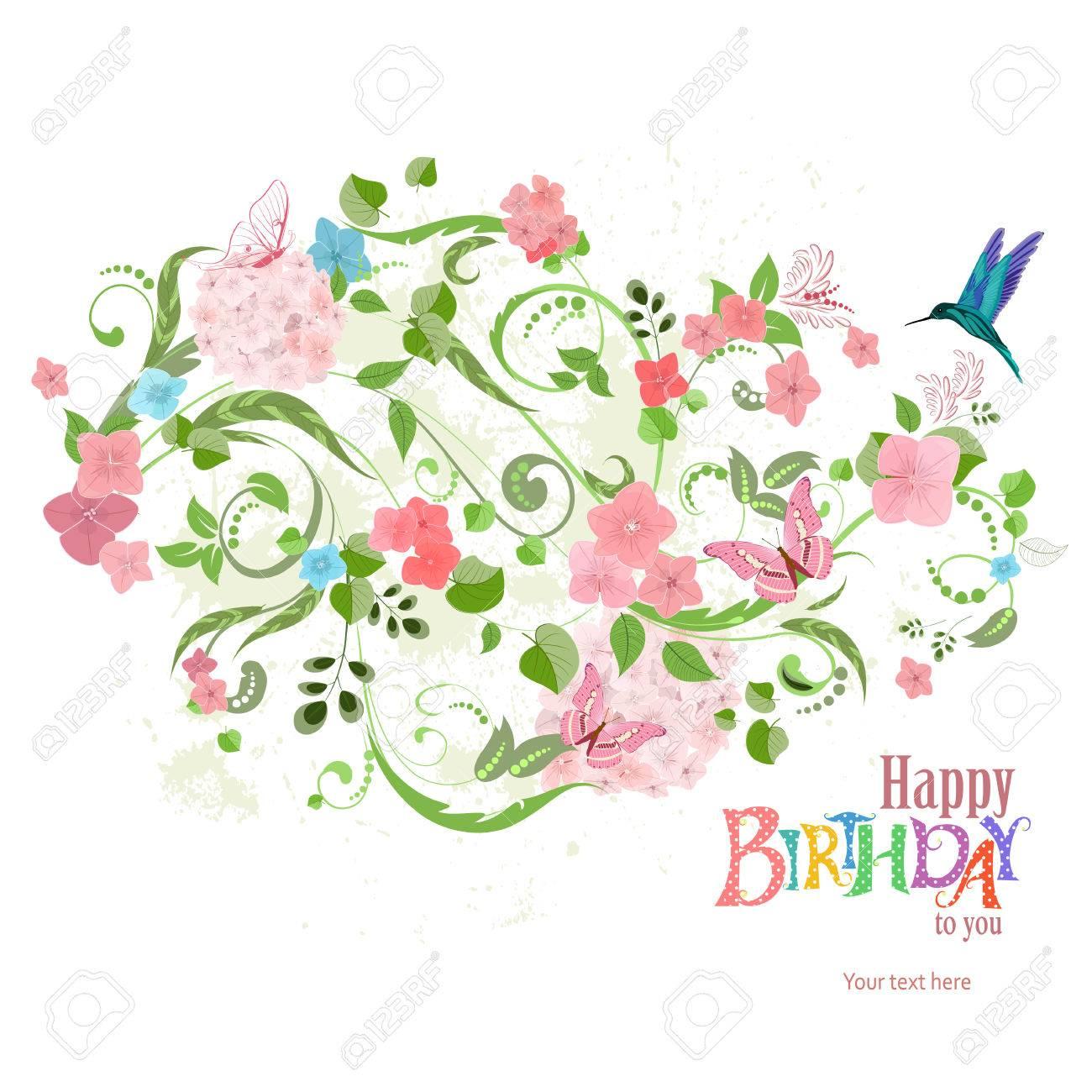 Einladungskarte Mit Einem Schönen Blumenverzierung Für Ihren Entwurf