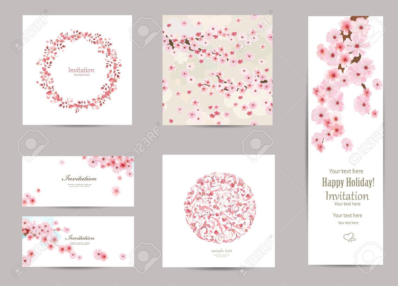 collection of greeting cards with a blossom sakura for your design. seamless texture with japanese floral pattern - 50254998