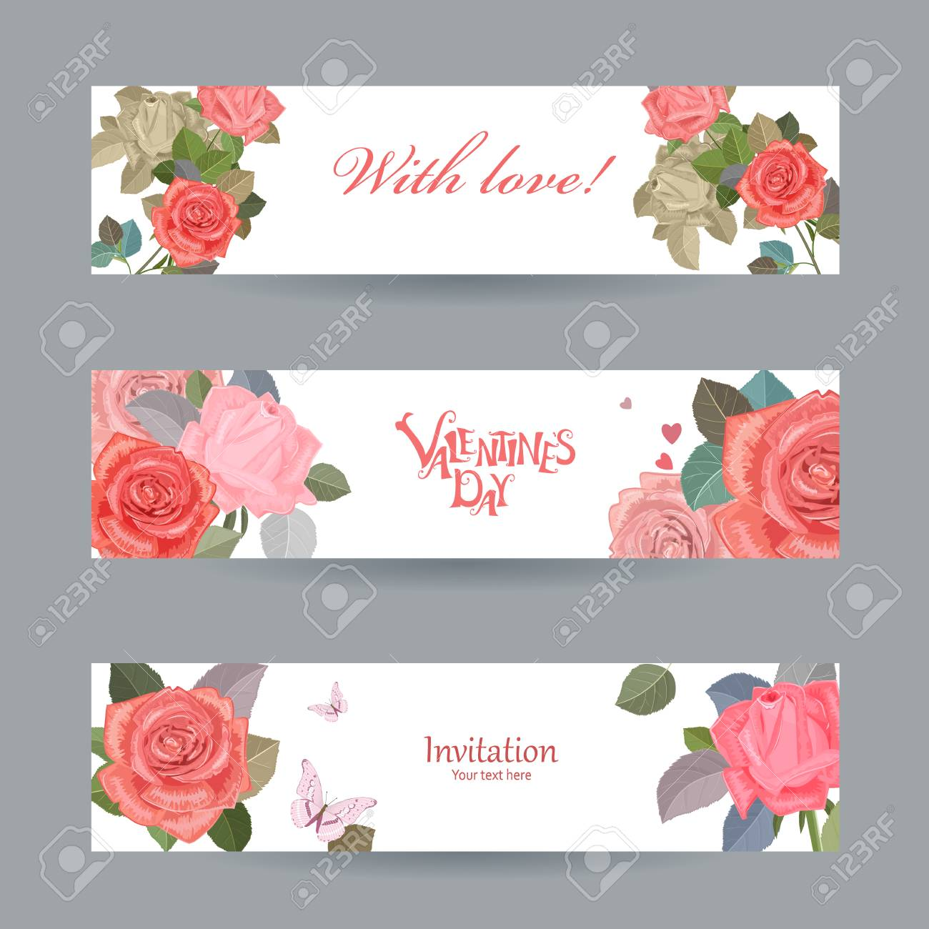 Invitation cards with vintage roses with love for your design invitation cards with vintage roses with love for your design happy valentines day stock vector stopboris Images