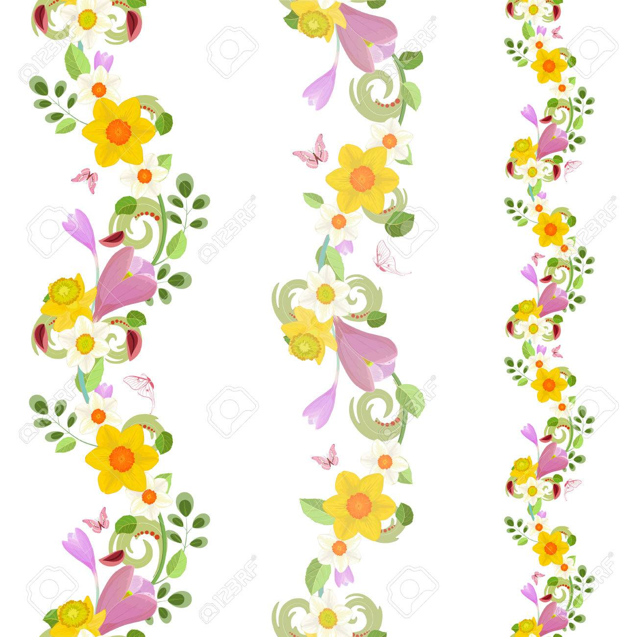 Collection Vertical Seamless Borders With Spring Flowers Royalty