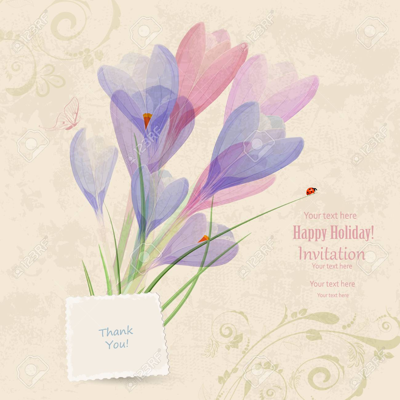 Rétro Carte Dinvitation Avec Des Fleurs De Printemps Pour Votre Conception Je Vous Remercie