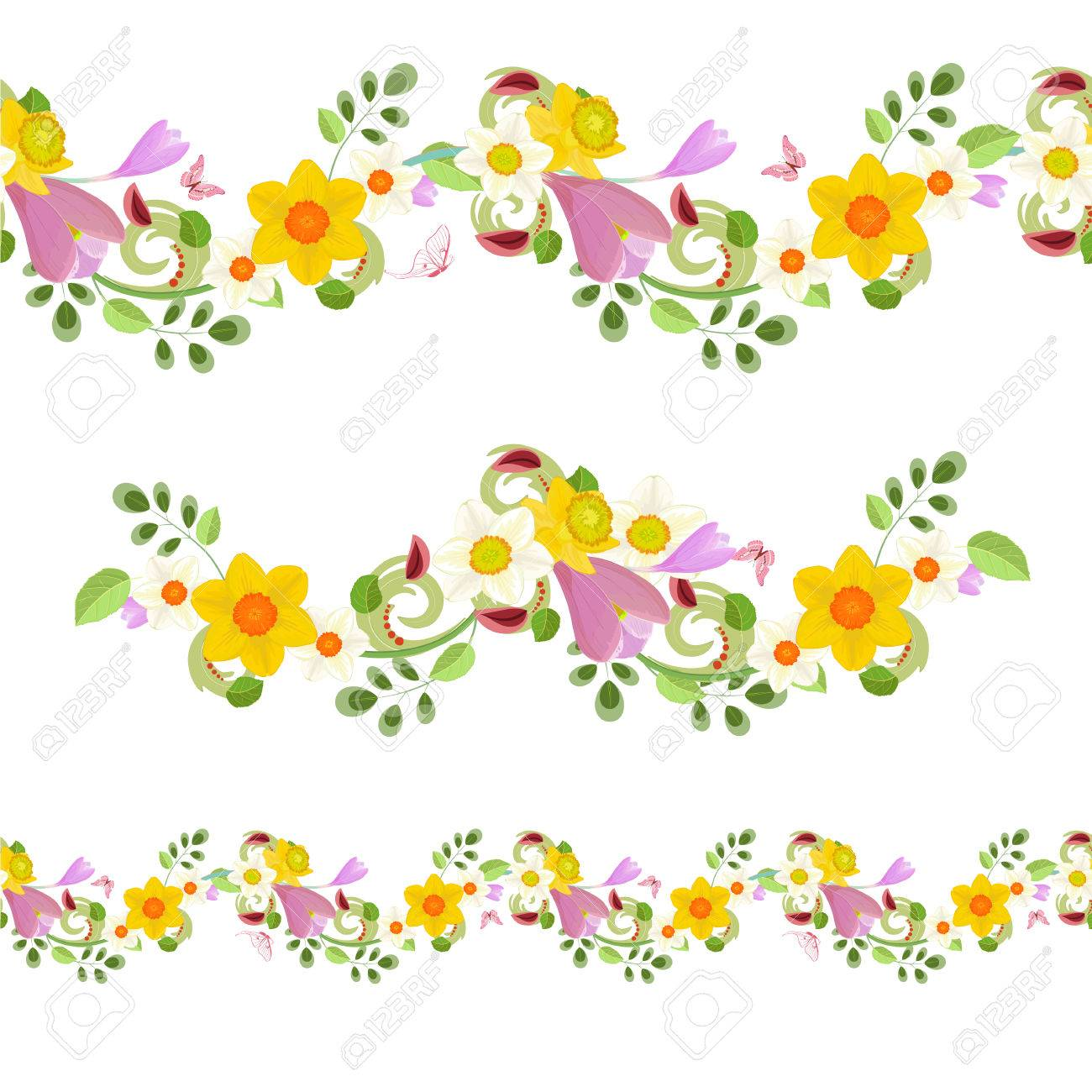 Collection Horizontal Seamless Borders With Spring Flowers Royalty