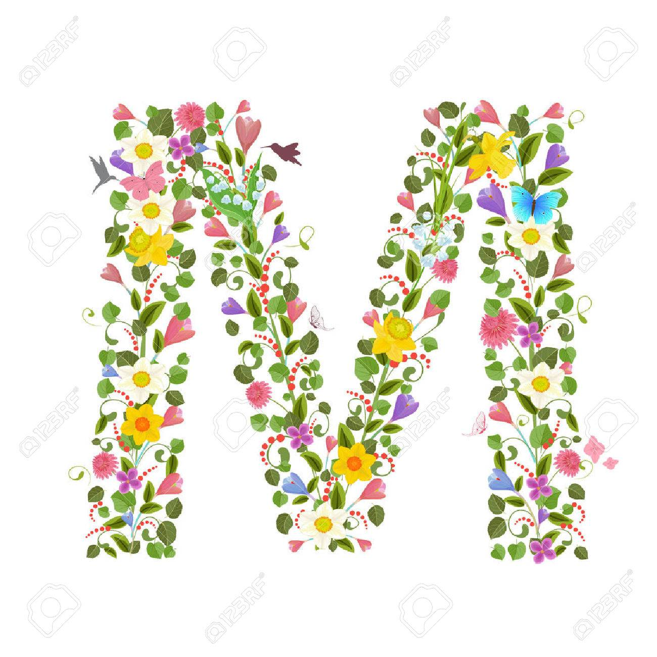 ornate capital letter font consisting of the spring flowers and flying hummingbirds. floral letter m - 58922952
