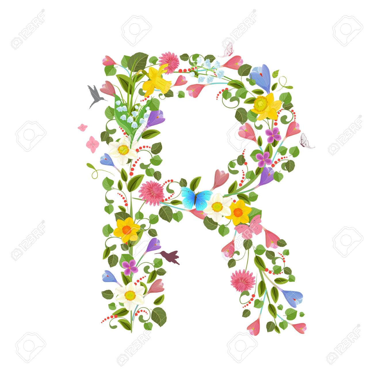 Ornate capital letter font consisting of the spring flowers and ornate capital letter font consisting of the spring flowers and flying hummingbirds floral letter r altavistaventures Choice Image