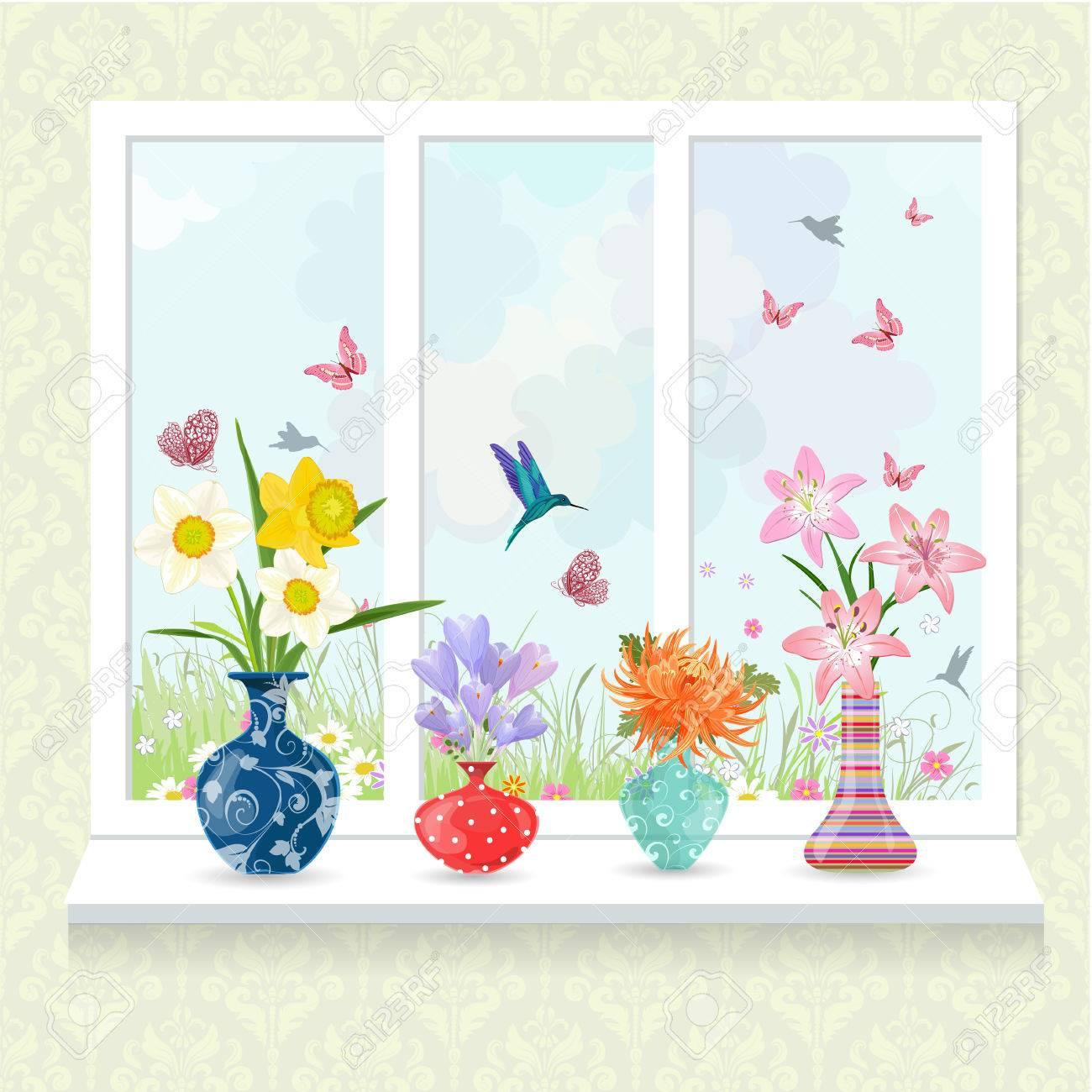 Romantische Sammlung Moderner Glasvasen Mit Blumen Auf Fensterbrett Für Ihr  Design Standard Bild   58923161