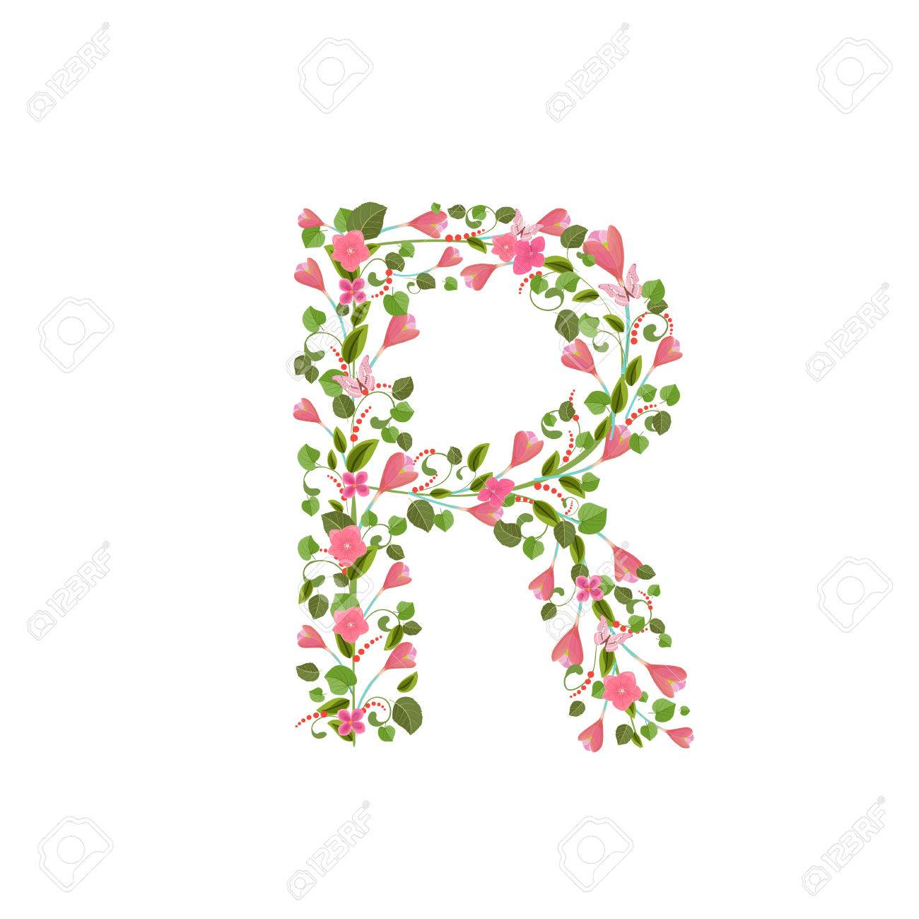 Floral font with with spring pink flowers romantic alphabet floral font with with spring pink flowers romantic alphabet letter r stock vector 58923166 altavistaventures Choice Image