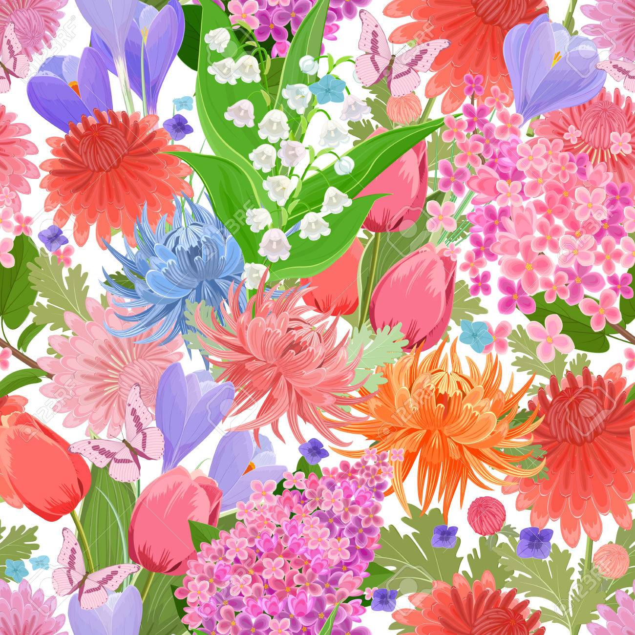 Colorful Seamless Texture With Spring Flowers And Butterflies