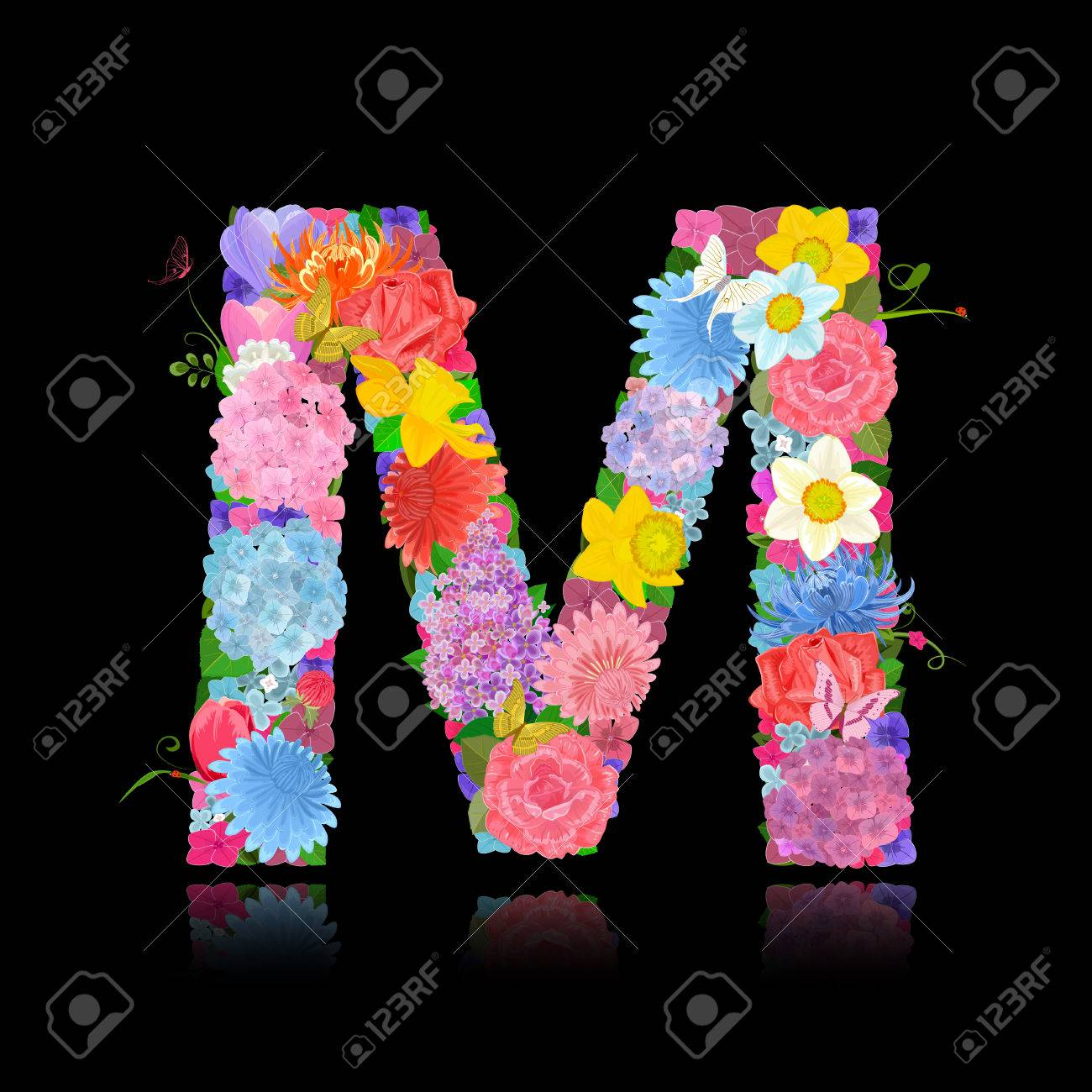 Fancy Letter Of Beautiful Flowers On Black Background M Royalty Free