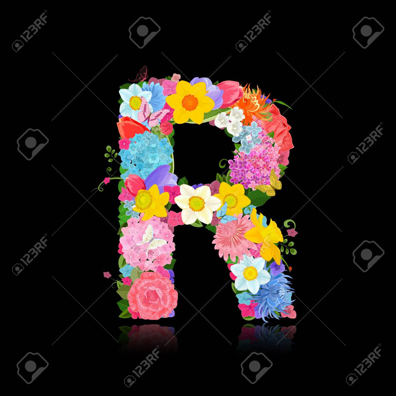 Fancy letter of beautiful flowers on black background r royalty free fancy letter of beautiful flowers on black background r stock vector 63949899 altavistaventures Image collections