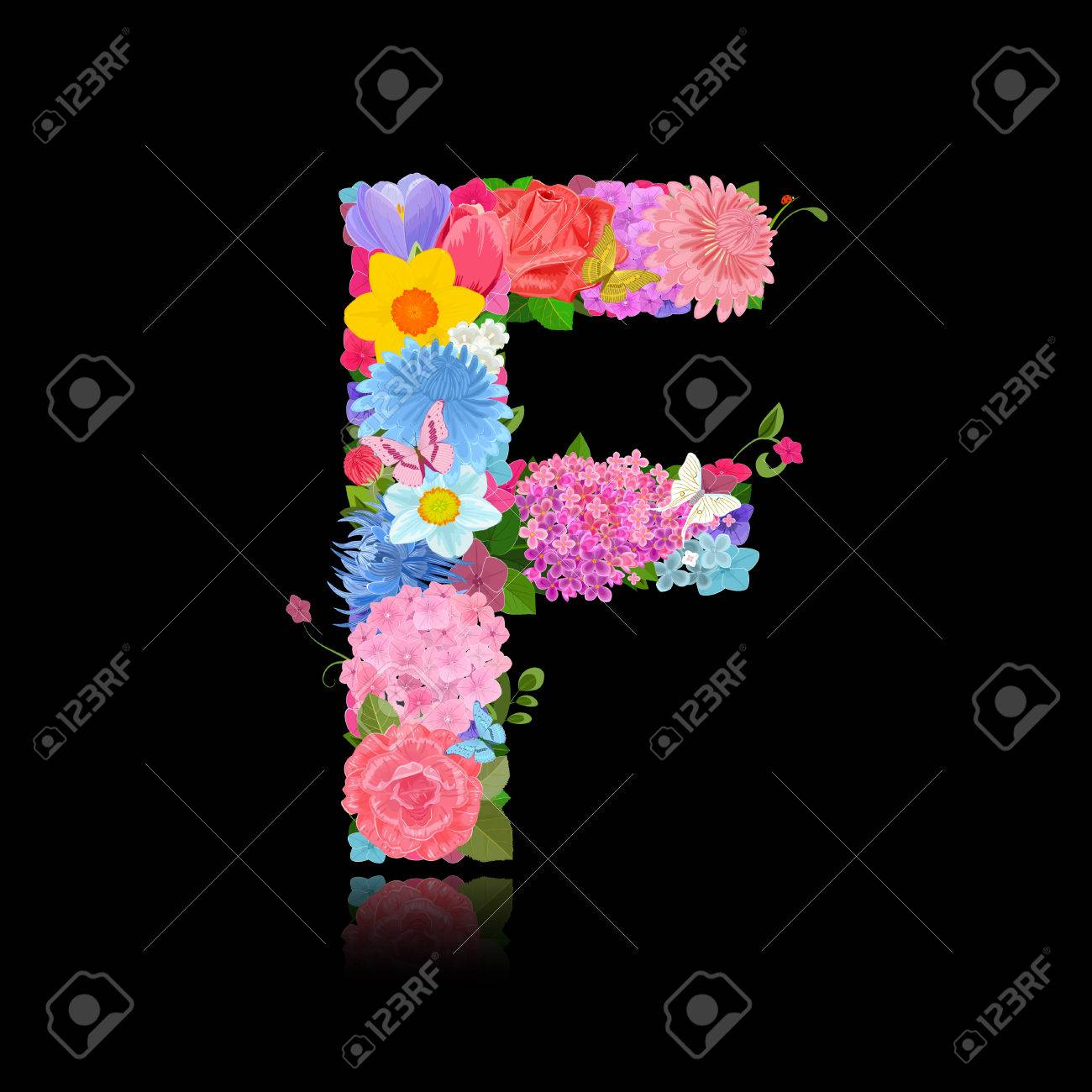 Fancy Letter Of Beautiful Flowers On Black Background F Stock Vector