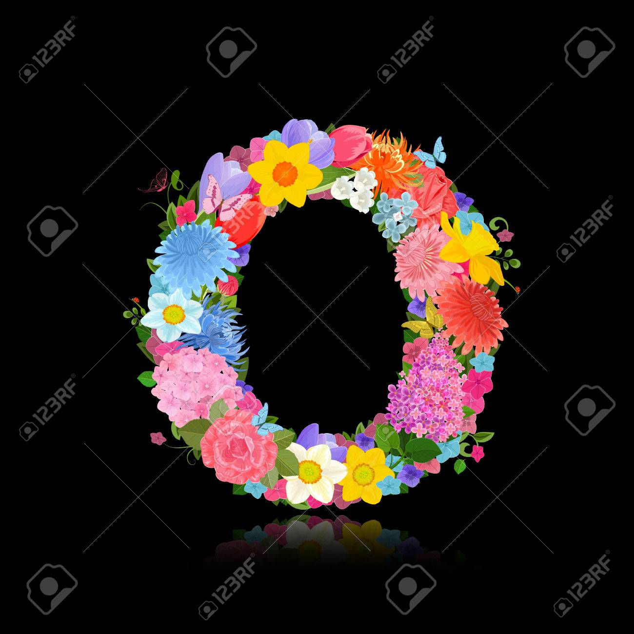 Fancy Letter Of Beautiful Flowers On Black Background O Royalty Free