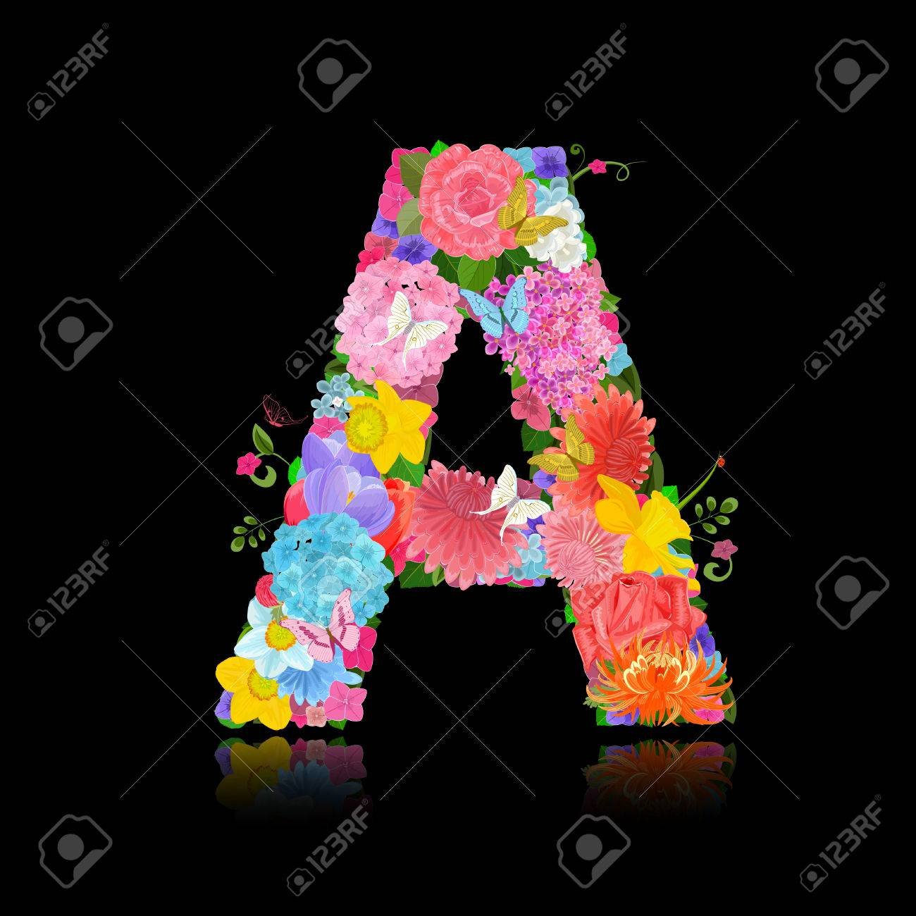 Fancy Letter Of Beautiful Flowers On Black Background A Stock Vector