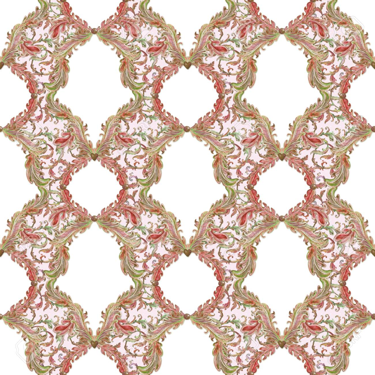 fantasy seamless texture with floral scroll filigree template
