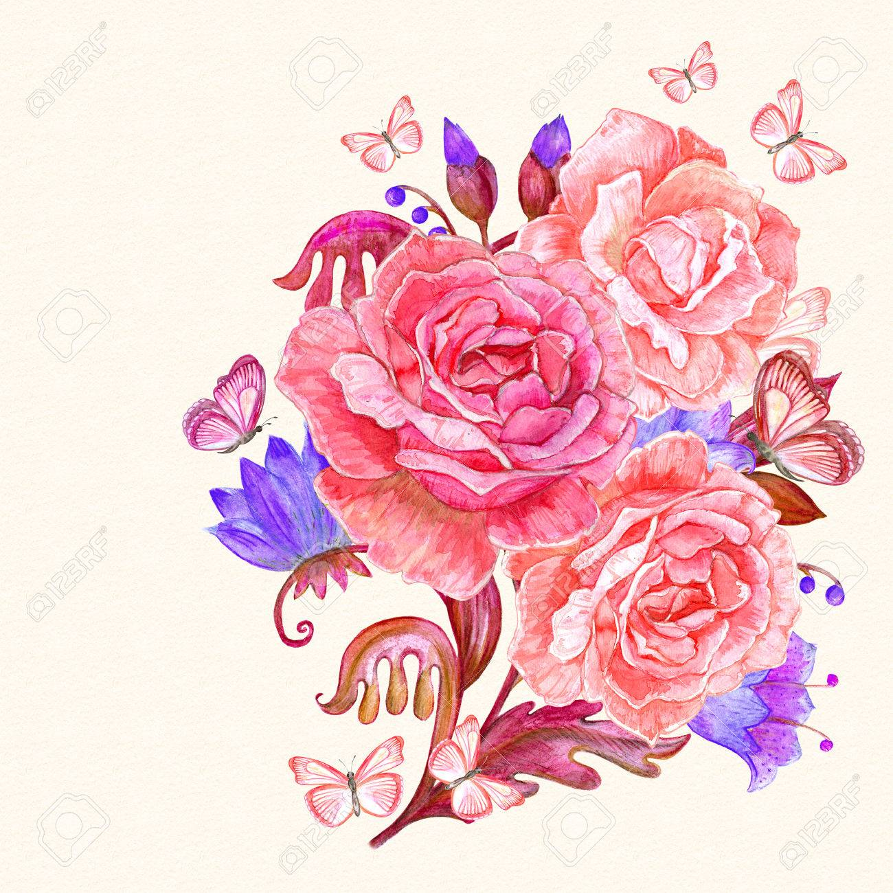 romantic bouquet of lovely roses with flying butterflies. watercolor