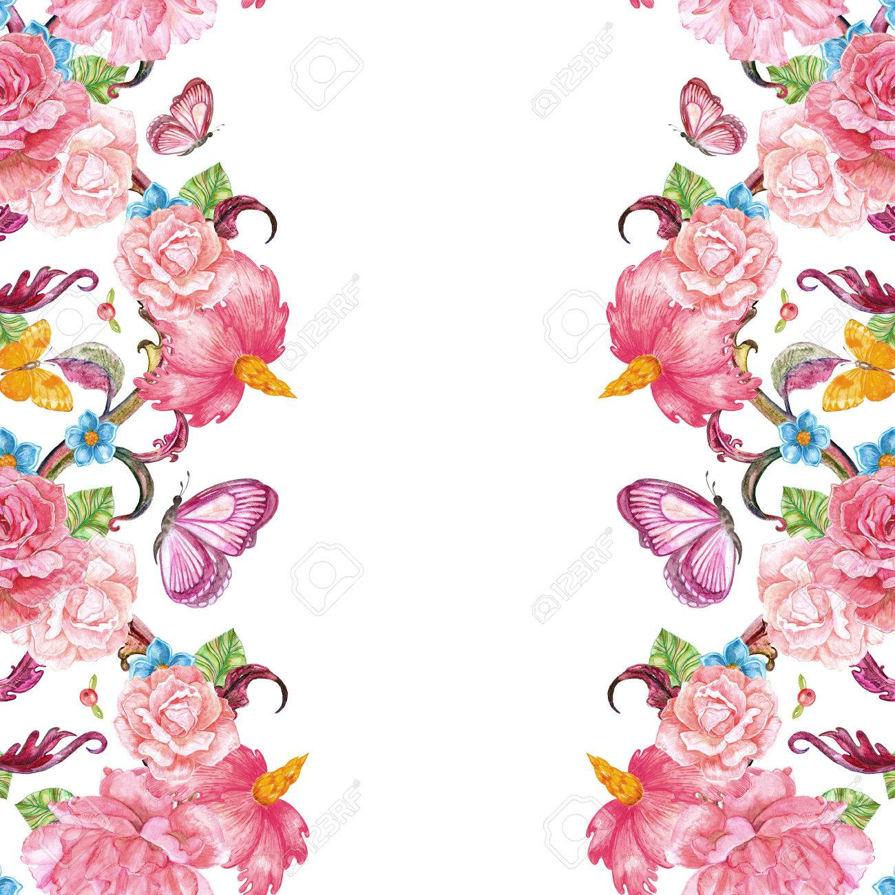 Tarjeta De Invitación Linda Con Flores Y Mariposas Exóticas Pintura De Acuarela