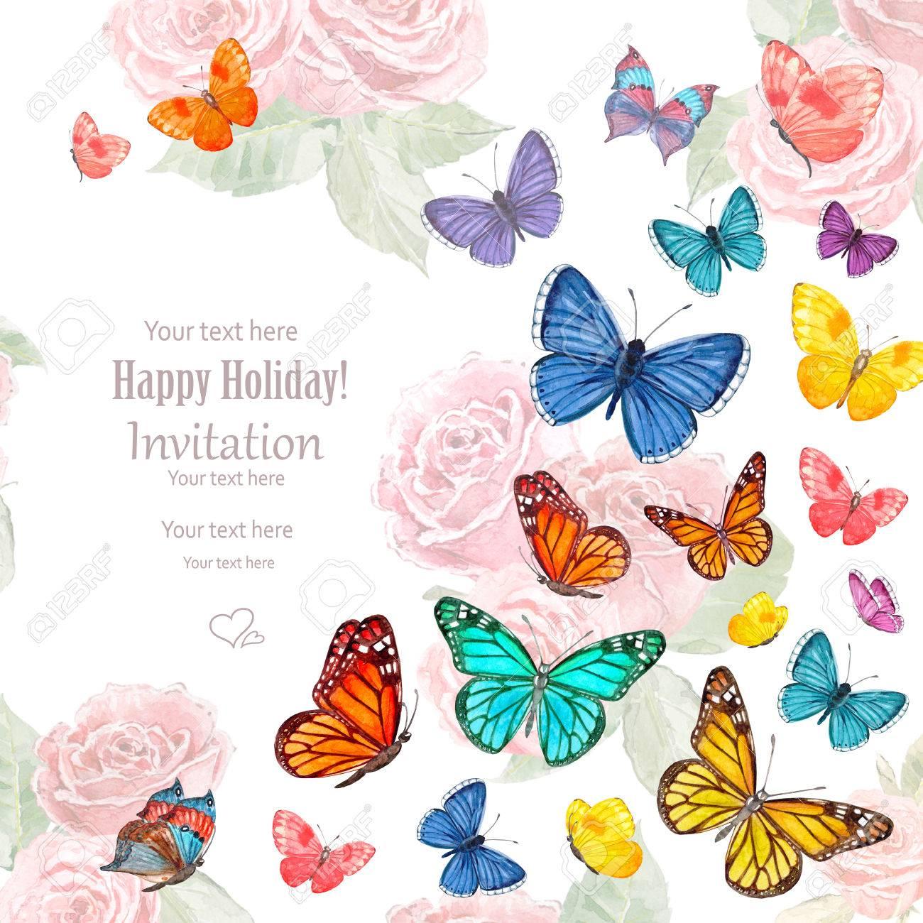 Tarjeta De Invitación Con Las Mariposas Que Vuelan Bonitas Pintura