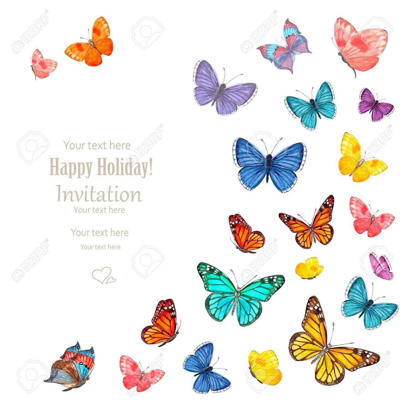Tarjeta De Invitación Con Preciosas Mariposas Volando Sobre Fondo Blanco Pintura De Acuarela
