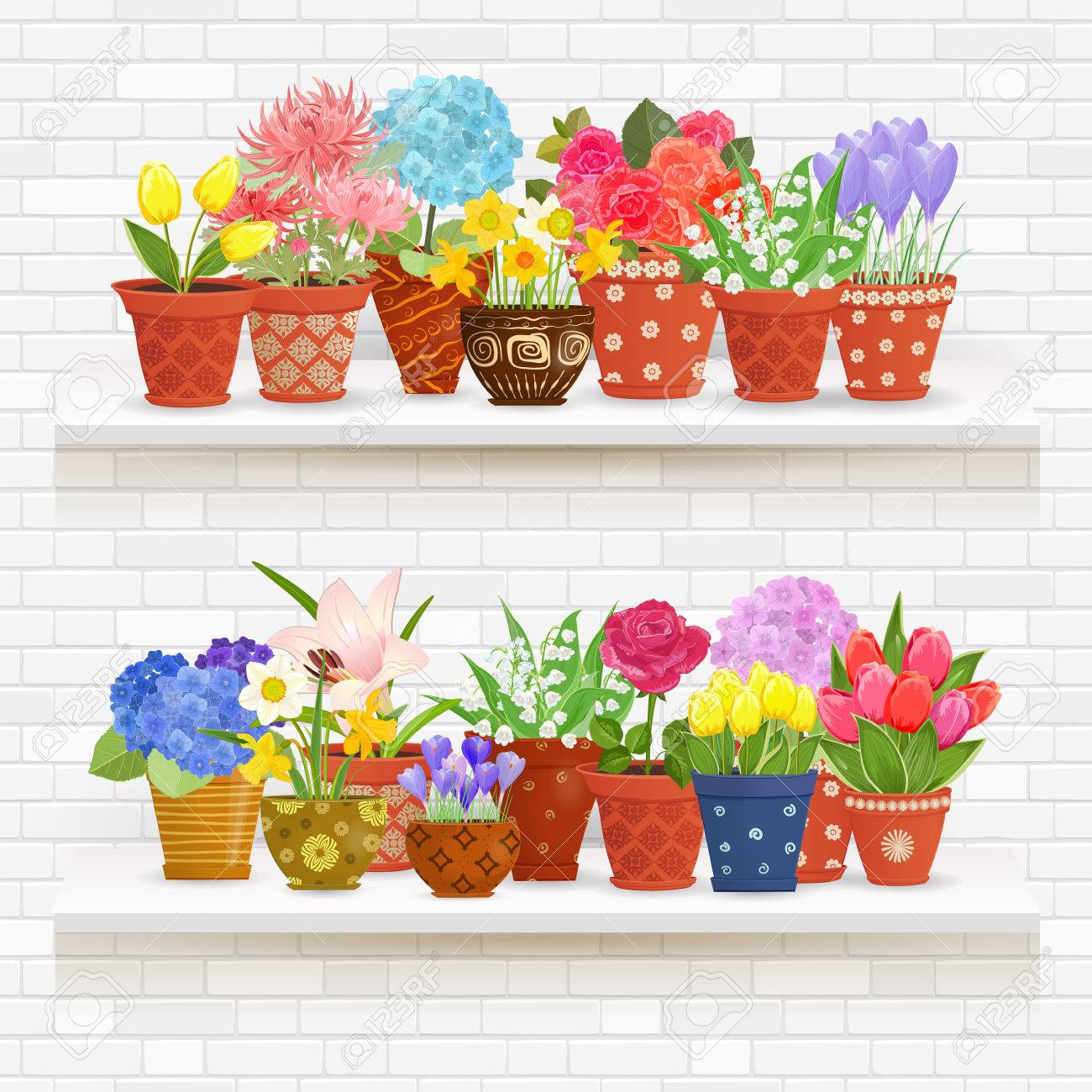 étagères Sur Un Mur De Brique Blanche Avec De Belles Fleurs Plantées ...