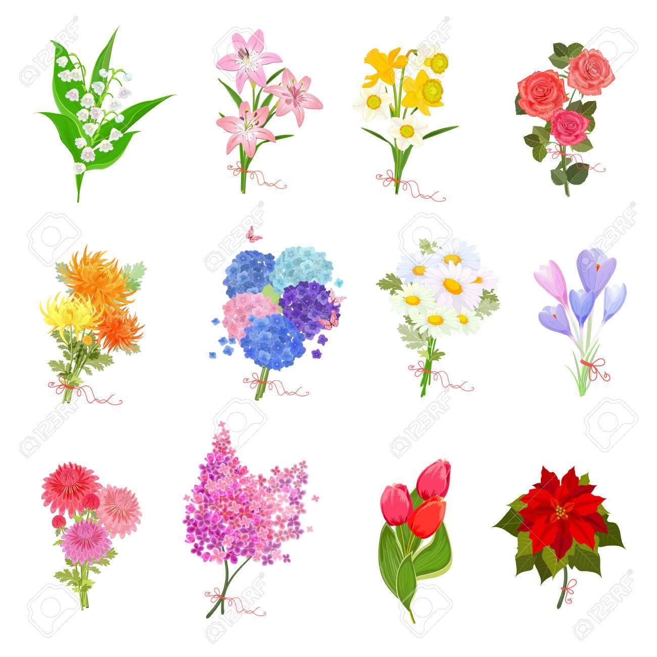 coleccin de moda elegantes con ramos de flores preciosas para su diseo foto de archivo