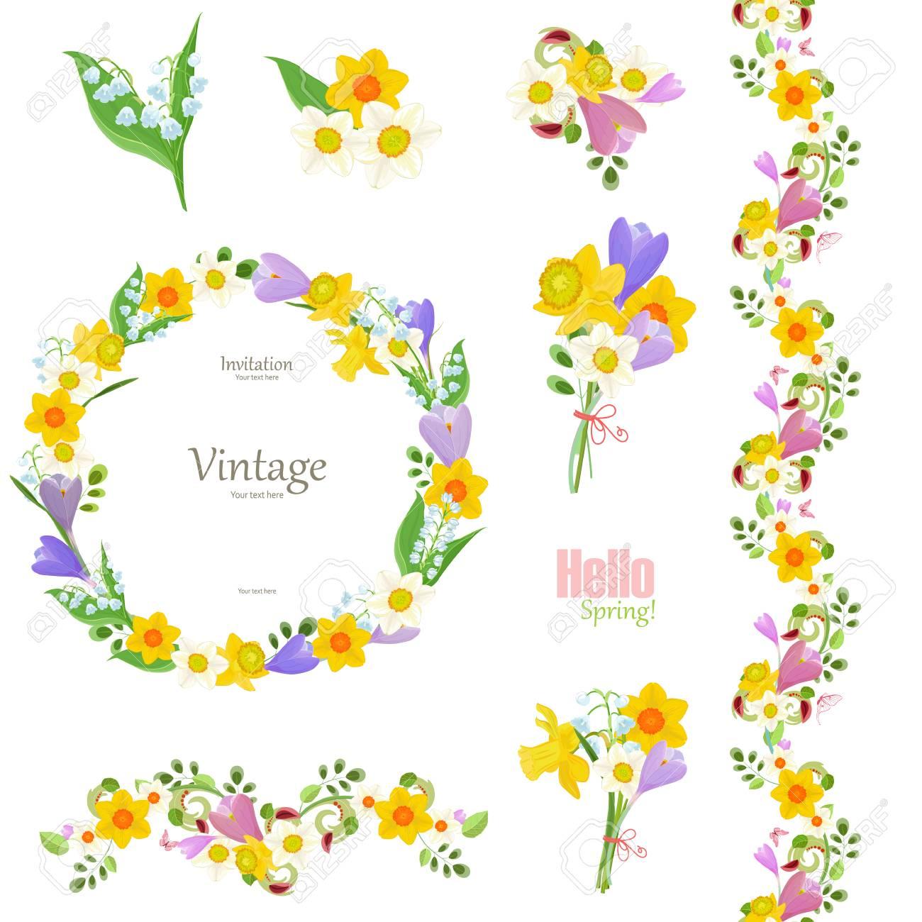 春の花のコレクションシームレスな境界線とあなたのデザインのかわいいリース