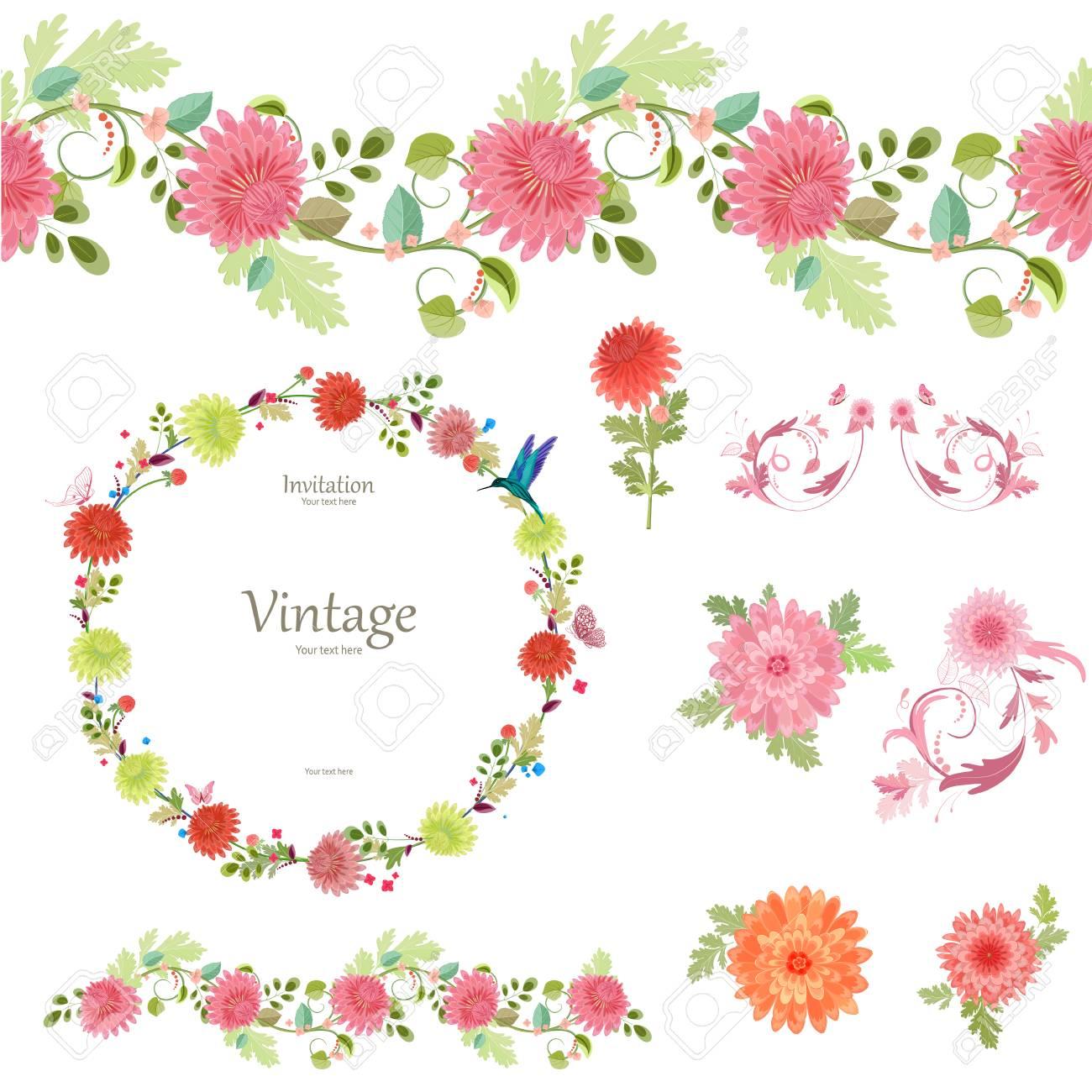 春の菊の花のコレクション シームレスな境界線とあなたのデザインのかわいいリースです