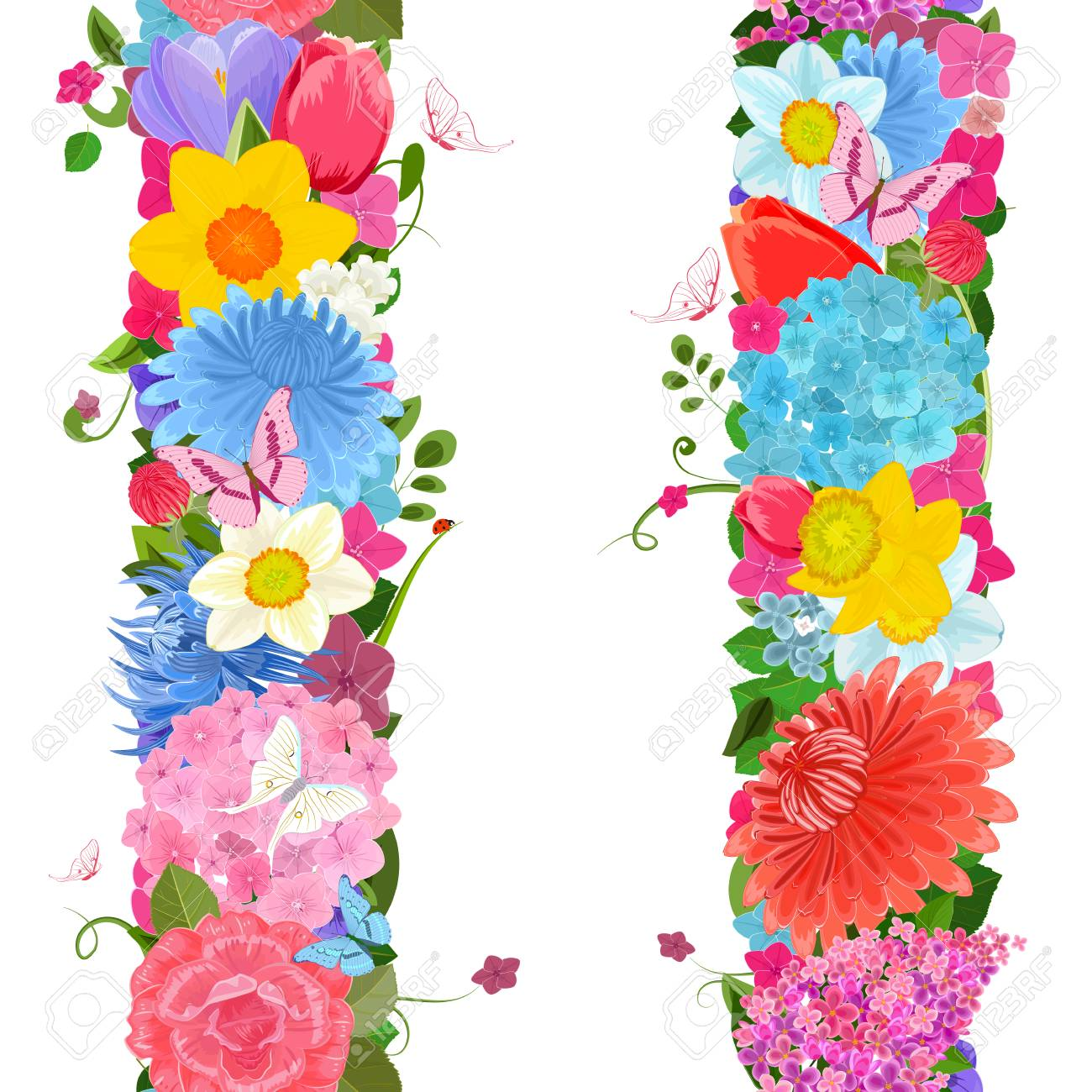 Collection Vertical Borders From Spring Flowers For Your Design