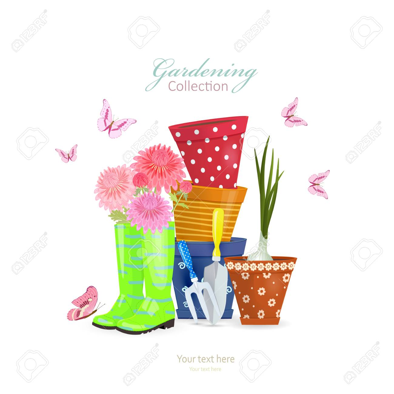 Rustic Gardening Lifestyle With Spring Flowers And Green Onion Planted In Flowerpots On White Background Stock