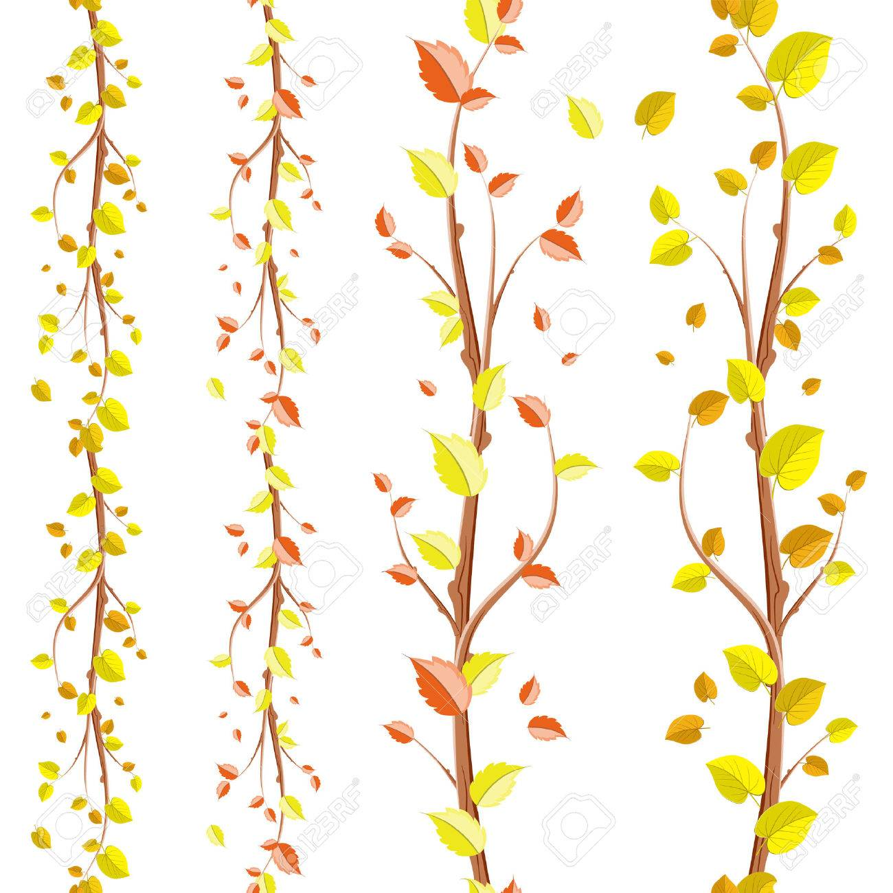 Pretty Collection Of Autumn Seamless Borders For Your Design