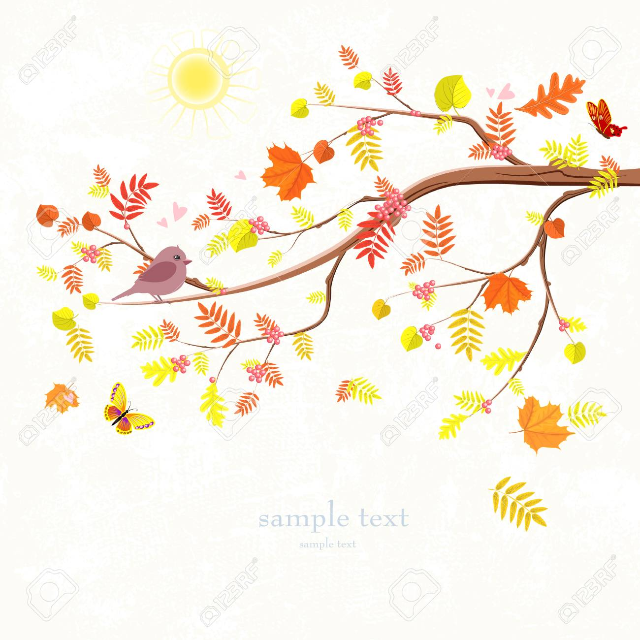 Autumn invitation card with branch of tree and a cute bird for autumn invitation card with branch of tree and a cute bird for your design stock vector stopboris Images