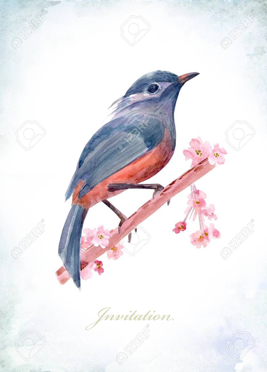 Vintage Greeting Card With A Graceful Bird On Flowering Branches