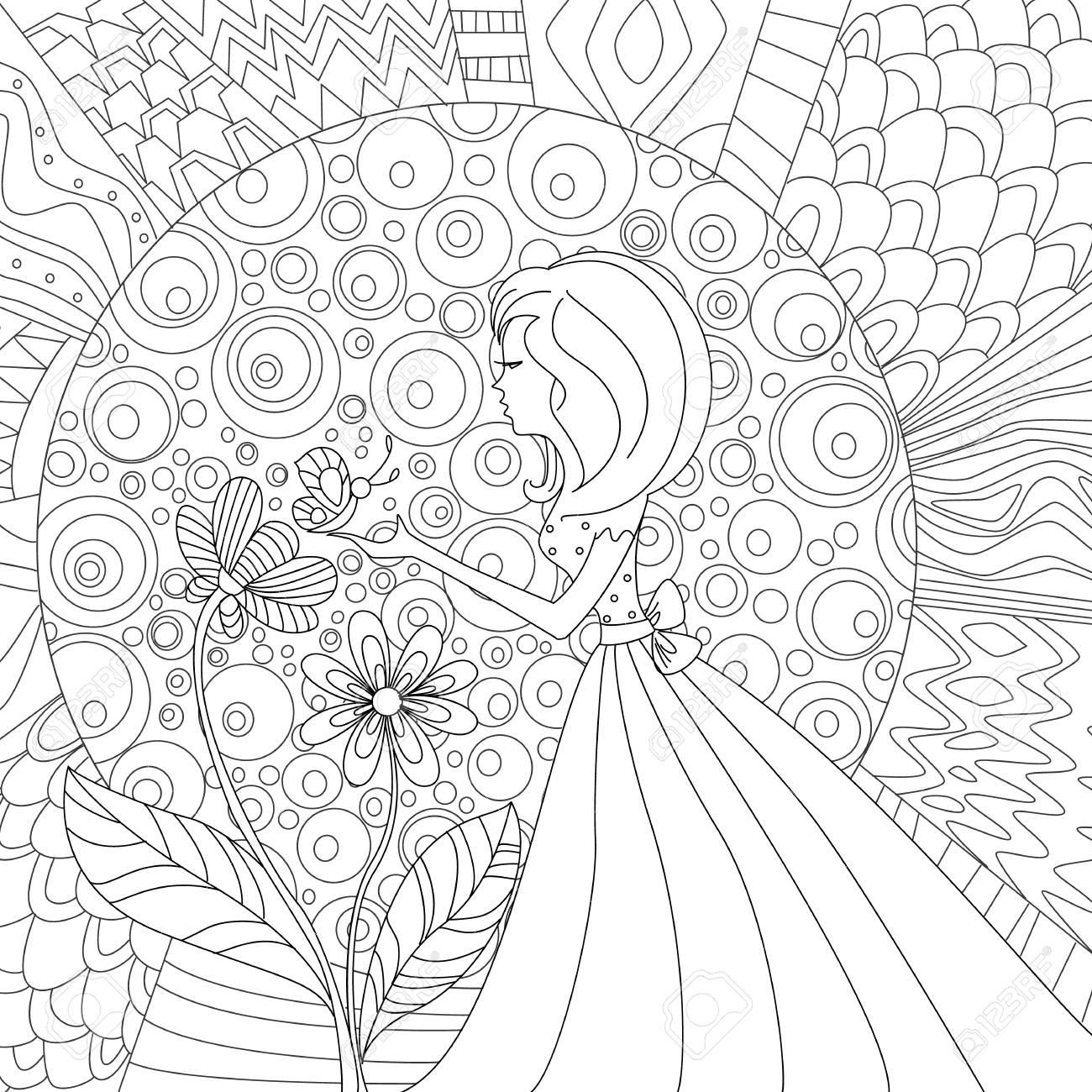 Niña Bonita Con La Mariposa. Página Para Colorear Ilustraciones ...
