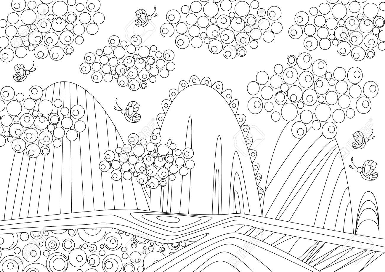 Paisaje De Montaña Para Colorear Libro Ilustraciones Vectoriales