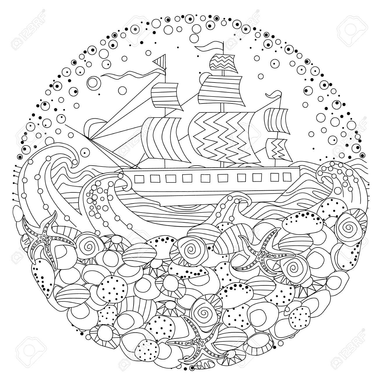 Elementos De Mar Para Colorear Ilustración Del Libro. Ilustraciones ...