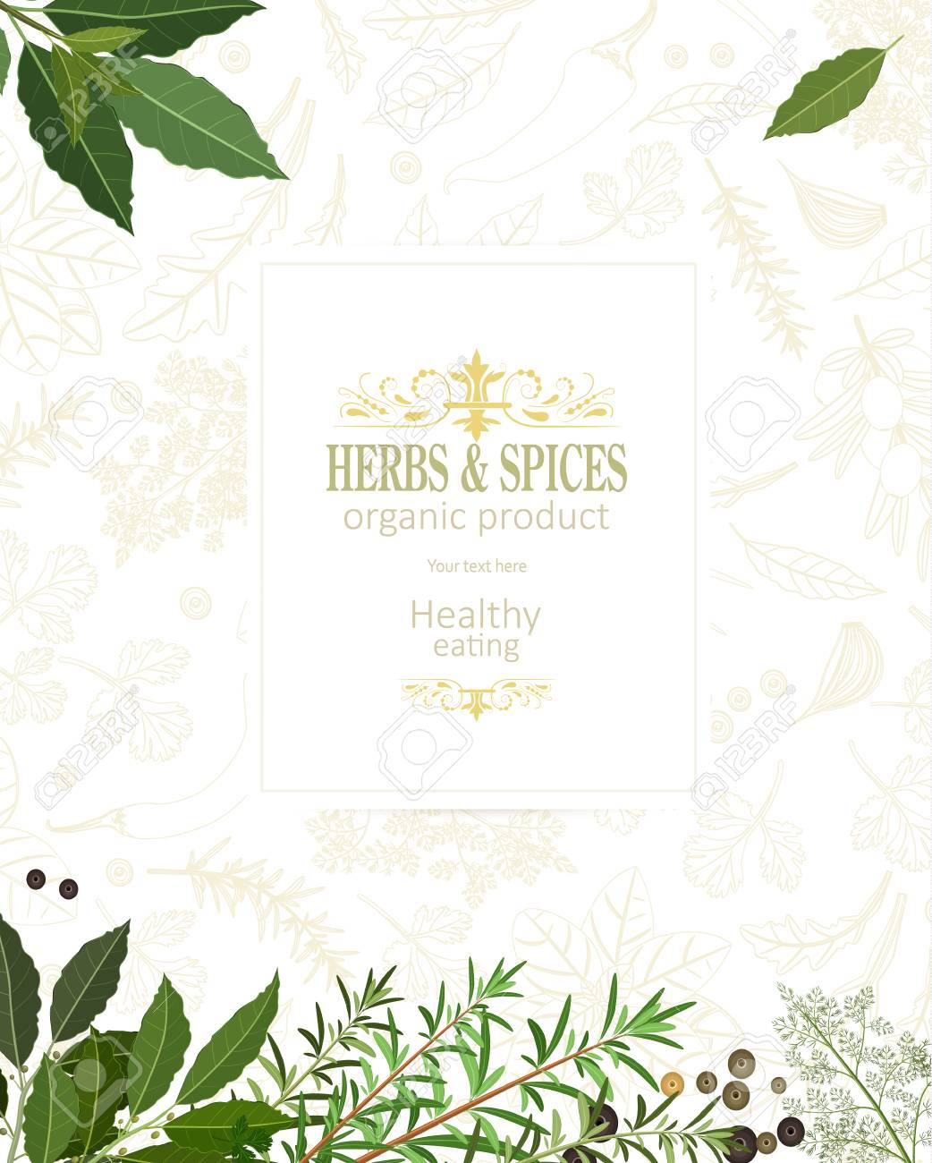 Organic Banner With Fresh Herbs And Spices Template Royalty Free Cliparts Vectors And Stock Illustration Image 90945726