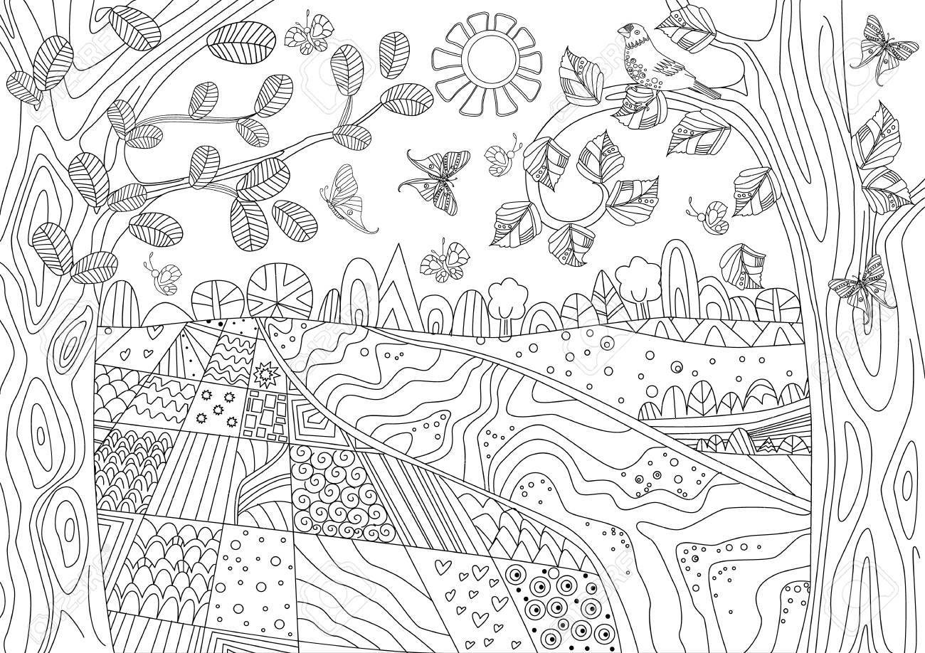 Happy Nature Scenery For Your Coloring Book Royalty Free Cliparts