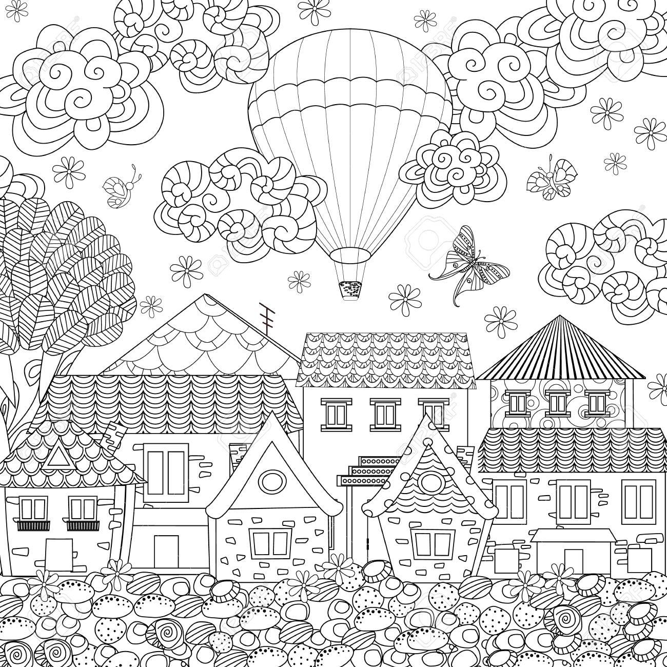 Ville Confortable Avec Montgolfière Dans Le Ciel Pour Votre Livre De Coloriage