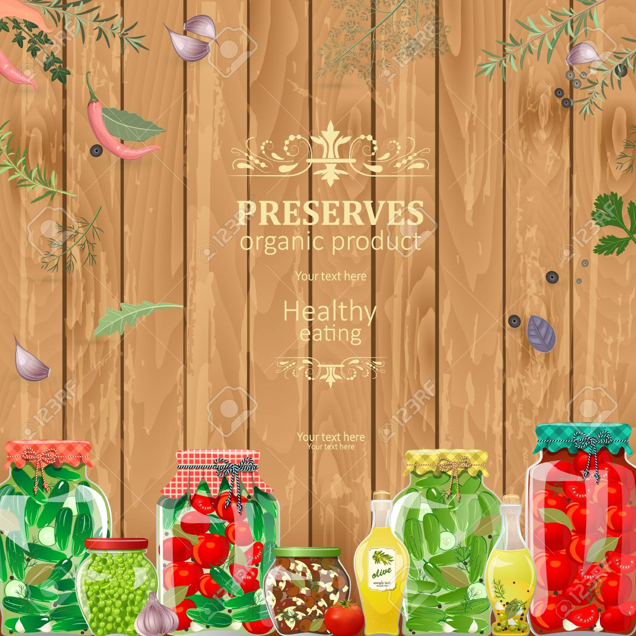 Rustic Banner With Preserving Jars Of Vegetables On Wooden Background Stock Vector